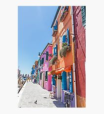 Orange, pink and blue houses in Burano, Italy Photographic Print