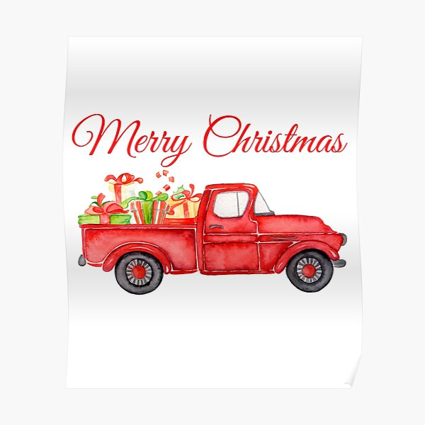 Christmas Vintage Red Pickup Truck with Presents Poster