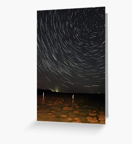 Star Trails Over Lake Clifton Thrombolites Greeting Card