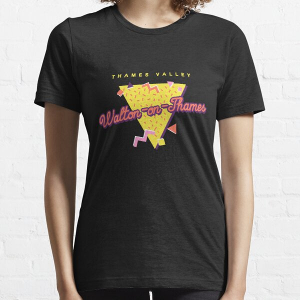Funny 80s Retro Sunset 'Walton-on-Thames' Thames Valley Essential T-Shirt