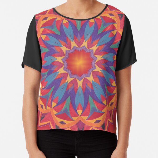Melons Sliced Fruit and Juice Fall Into Winter Design by Green Bee Mee Chiffon Top