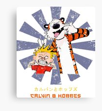 Calvin And Hobbes Retro Japanese Canvas Print
