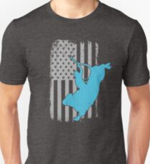 Bull Riding Distressed US American Flag - Rodeo Bullrider Lover  Unisex T-Shirt
