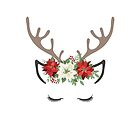 Reindeer Lashes Poinsettia Flower Crown by graphicloveshop