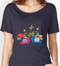 Kids Cute Fantasy Fairytale Snail Garden Women's Relaxed Fit T-Shirt