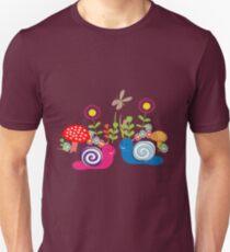 Kids Cute Fantasy Fairytale Snail Garden T-Shirt