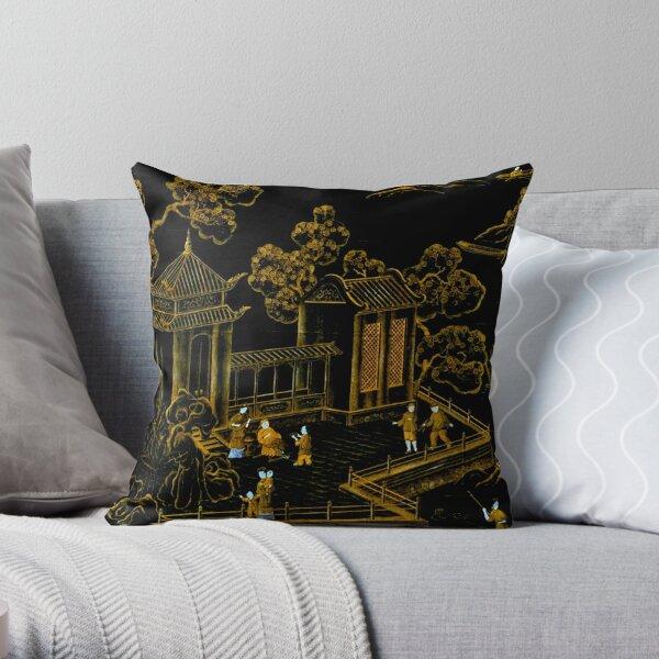 pagodes de soie orientales noires et dorées Coussin