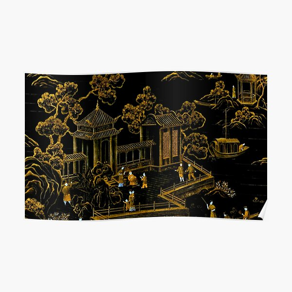 black and gold oriental silk pagodas  Poster