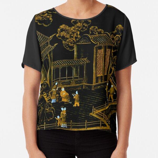 black and gold oriental silk pagodas  Chiffon Top