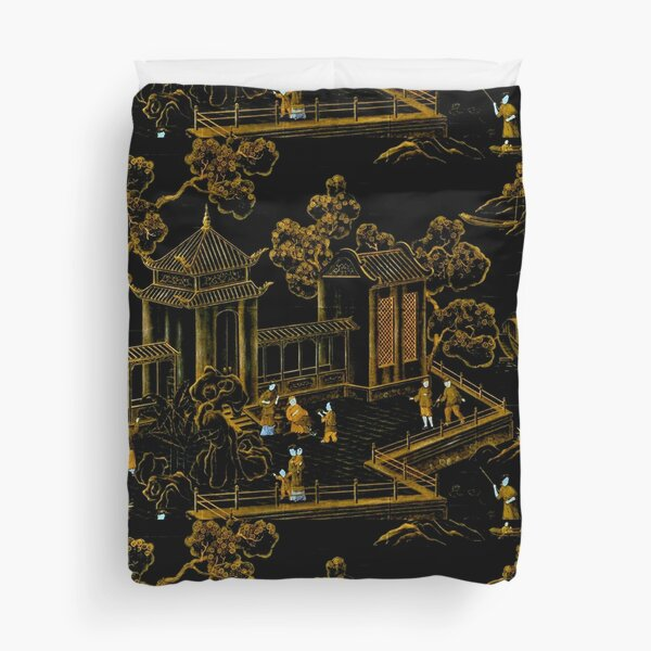 black and gold oriental silk pagodas  Duvet Cover