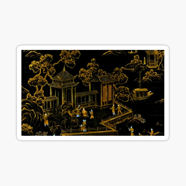 black and gold oriental silk pagodas  Sticker