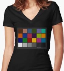 Color Checker Chart Women's Fitted V-Neck T-Shirt