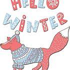 Hello winter funny christmas cartoon fox by Epic Splash Creations