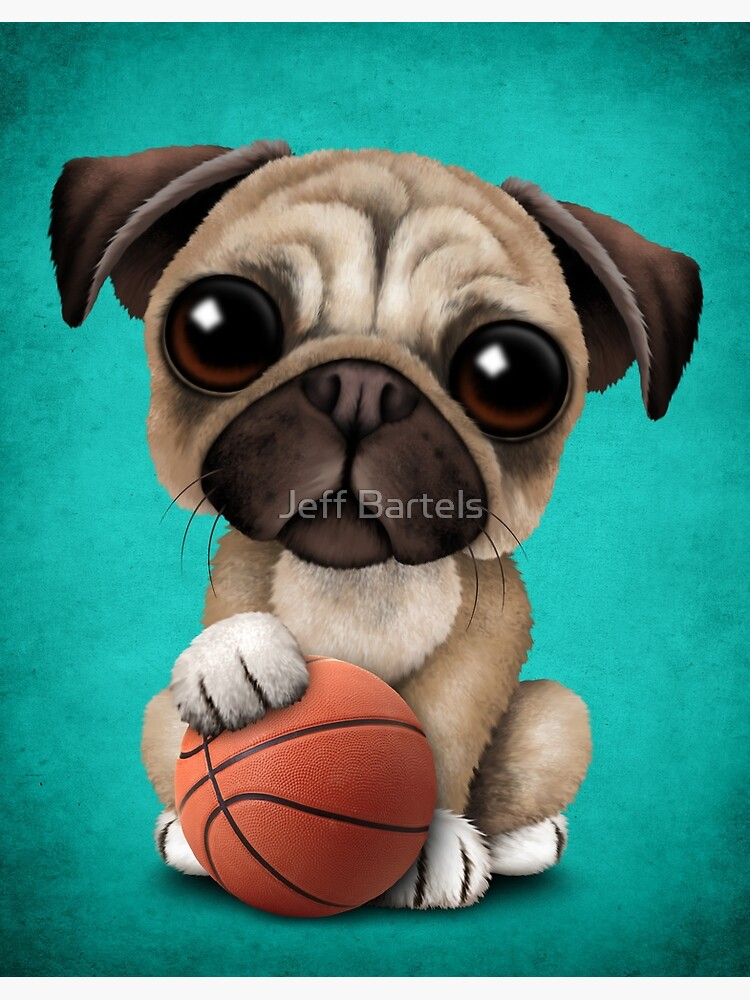 Cute Pug Puppy Dog Playing With Basketball by JeffBartels