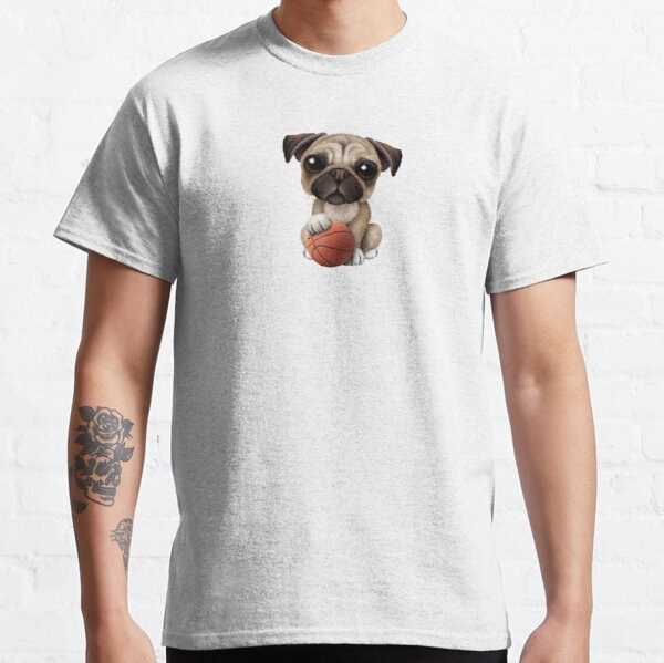 Cute Pug Puppy Dog Playing With Basketball Classic T-Shirt