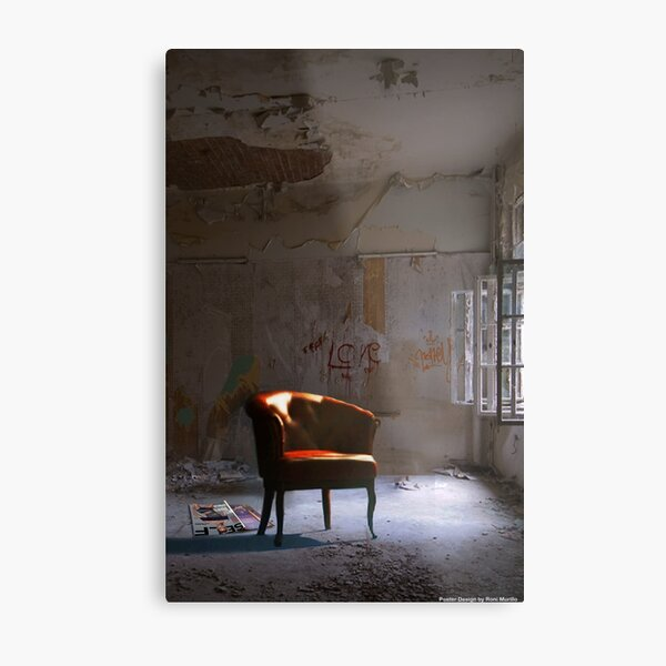 Red Chair in a Waiting Room Metal Print