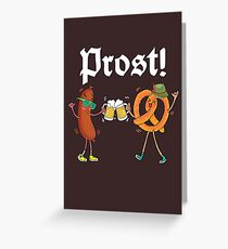 Prost Funny Sausage and Pretzel Cheers Beer Greeting Card