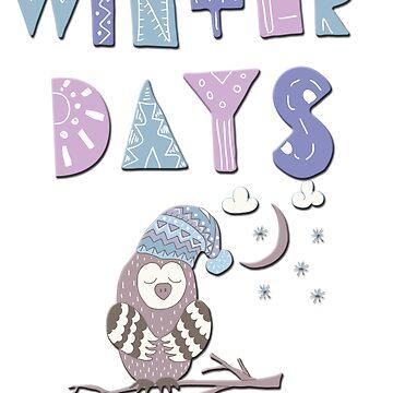 Cute owl winter cartoon Christmas cartoon  by ACoetzer