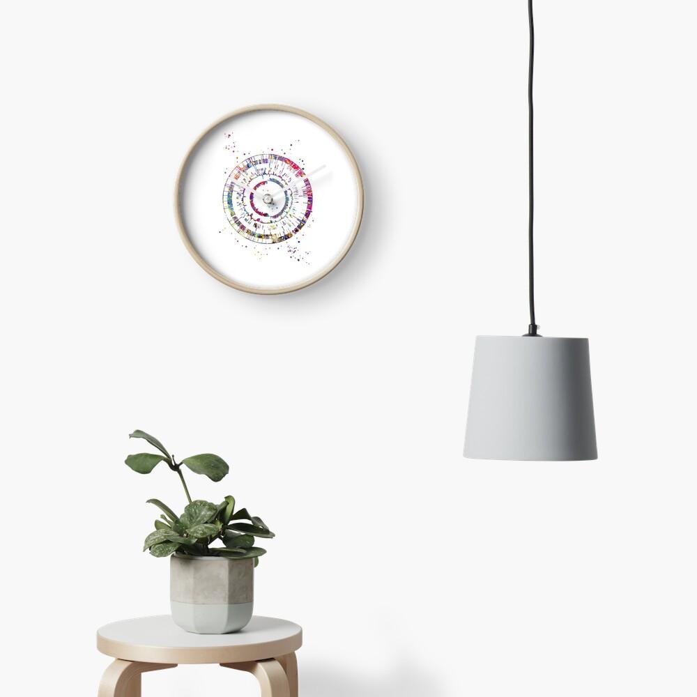Genomics, science, science art, DNA, DNA print, watercolor DNA Clock