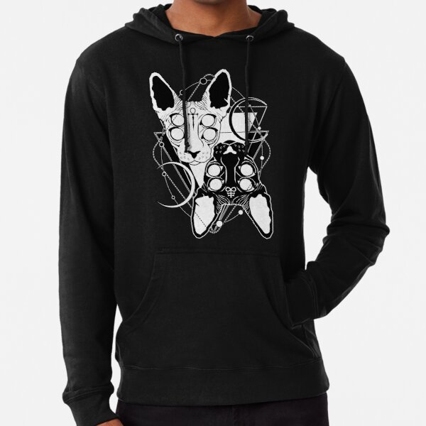 Sphynx cats with ankh and Leviathan cross symbols Lightweight Hoodie