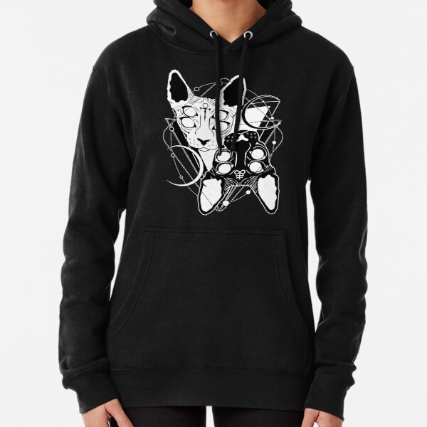 Sphynx cats with ankh and Leviathan cross symbols Pullover Hoodie