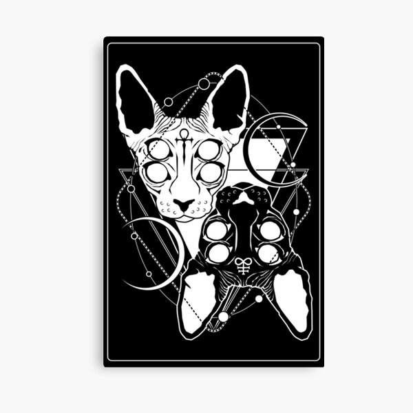 Sphynx cats with ankh and Leviathan cross symbols Canvas Print