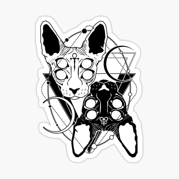 Sphynx cats with ankh and Leviathan cross symbols Sticker