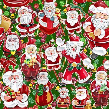 Red Green Christmas Santa Pattern by kbasandra