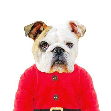 Christmas Bulldog by DarkMaskedCats