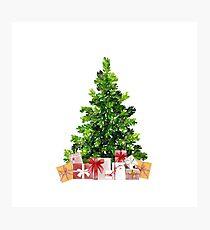 Pine Christmas Tree with Presents Photographic Print