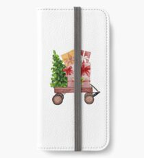Red Christmas Wagon with Tree and Presents iPhone Wallet/Case/Skin