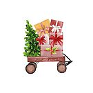 Red Christmas Wagon with Tree and Presents by Ann Drake
