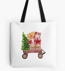 Red Christmas Wagon with Tree and Presents Tote Bag