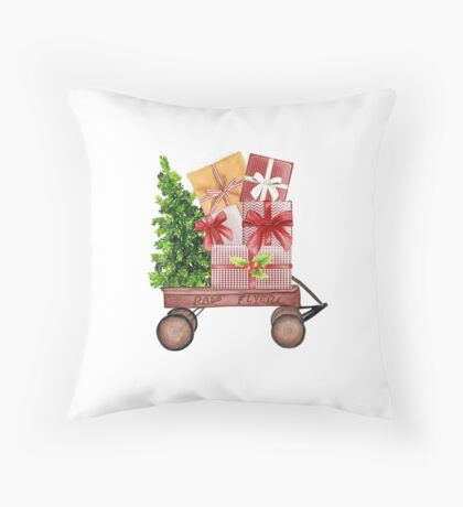 Red Christmas Wagon with Tree and Presents Throw Pillow