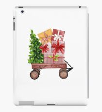 Red Christmas Wagon with Tree and Presents iPad Case/Skin