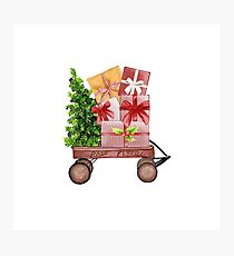 Red Christmas Wagon with Tree and Presents Photographic Print
