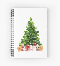 Pine Christmas Tree with Presents Spiral Notebook
