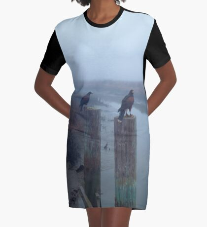 A Pair of Falconer's Harris's Hawks Hunting During a Falconry Hunt in the Wetlands of California  Graphic T-Shirt Dress