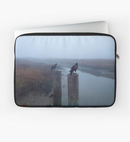 A Pair of Falconer's Harris's Hawks Hunting During a Falconry Hunt in the Wetlands of California  Laptop Sleeve