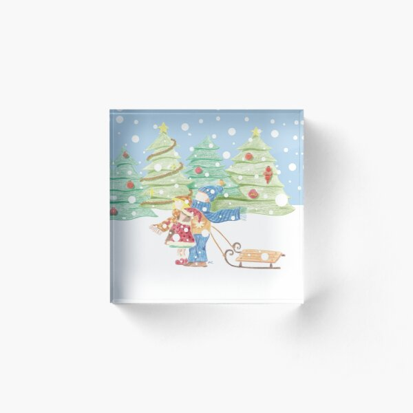 Kids in the Snow Retro Vintage Drawing Acrylic Block
