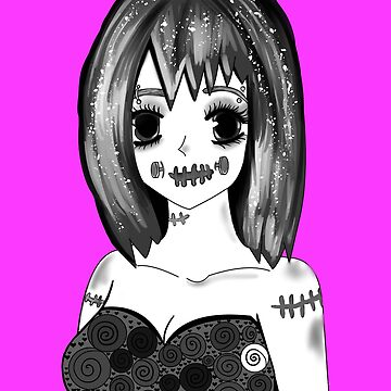 Anime Zombie Girl Black And White by KaylinArt