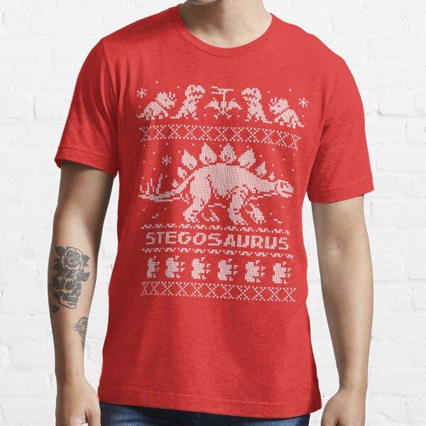Stegosaurus Winter Holiday Sweater Essential T-Shirt