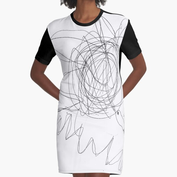 #lineart #flower #blackandwhite #plant #artwork #illustration #chalkout #vector #design #art #abstract #sketch #decoration #pattern #outline #shape #drawingartproduct #inarow #square Graphic T-Shirt Dress