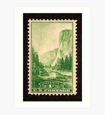 1934 1c Yosemite, California Postage Stamp Art Print