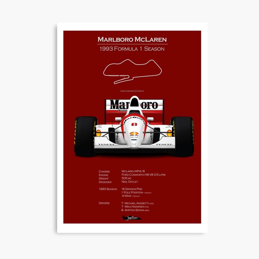Canvas Ayrton Senna F1 Car Giant Poster Art Print Black /& White in Card