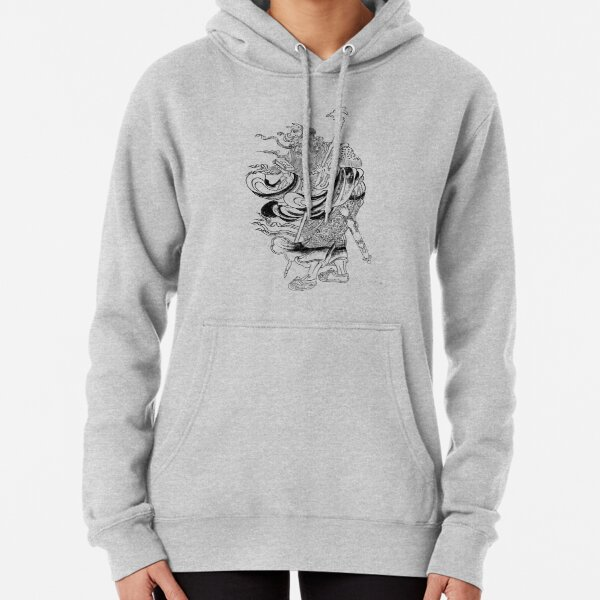 Medieval Fantasy Wizard Saturn Asia Outline Art  Pullover Hoodie