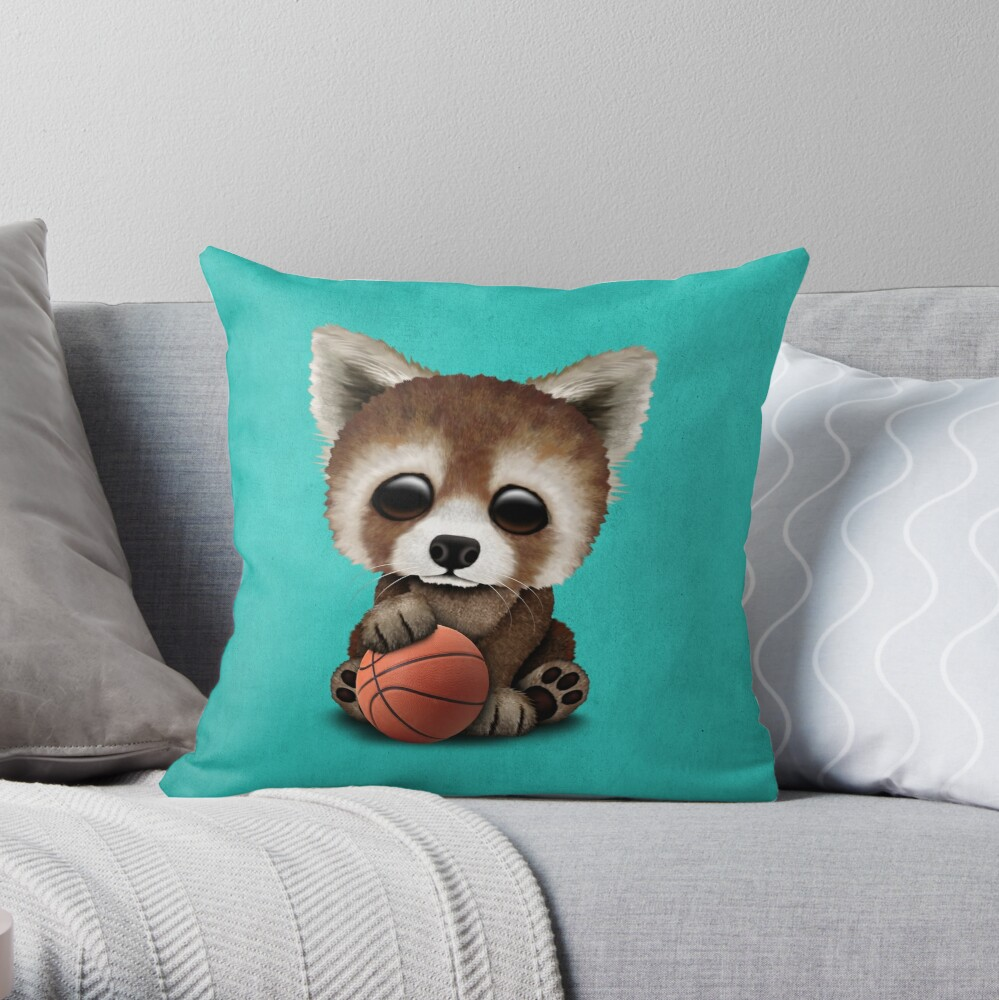 Cute Baby Red Panda Playing With Basketball Throw Pillow By Jeffbartels Redbubble