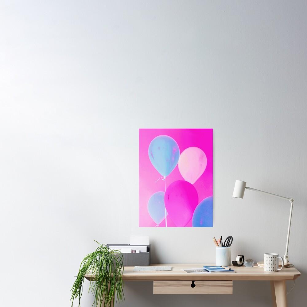 Balloony - Neon Pink Blue Balloons Art  Poster