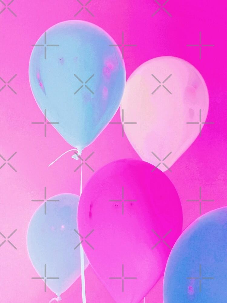 Balloony - Neon Pink Blue Balloons Art  by OneDayArt