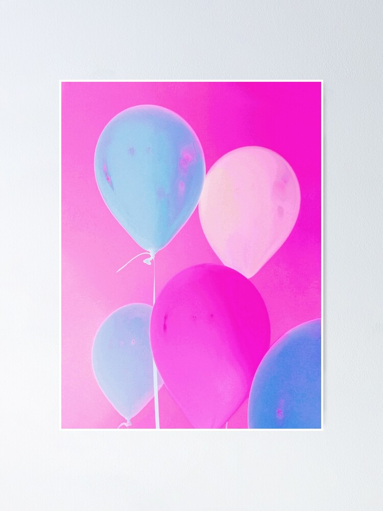 Alternate view of Balloony - Neon Pink Blue Balloons Art  Poster